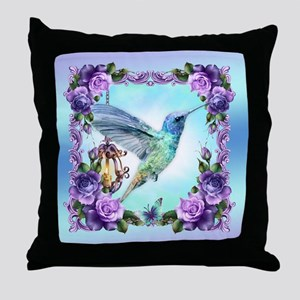 Watercolor Humming Bird, Rose, Throw Pillow